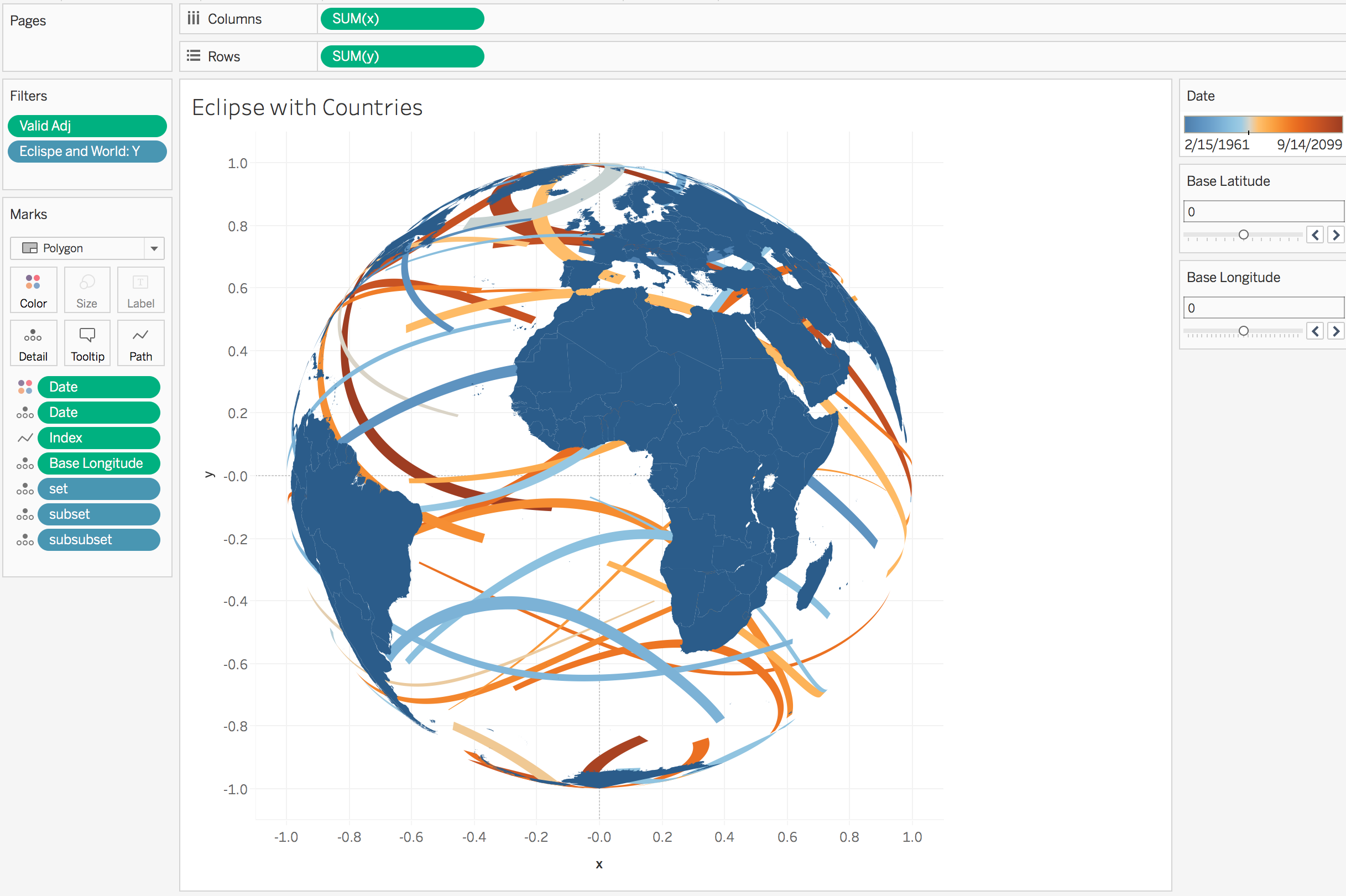 Creating orthographic maps (globe-like maps) in Tableau is easier