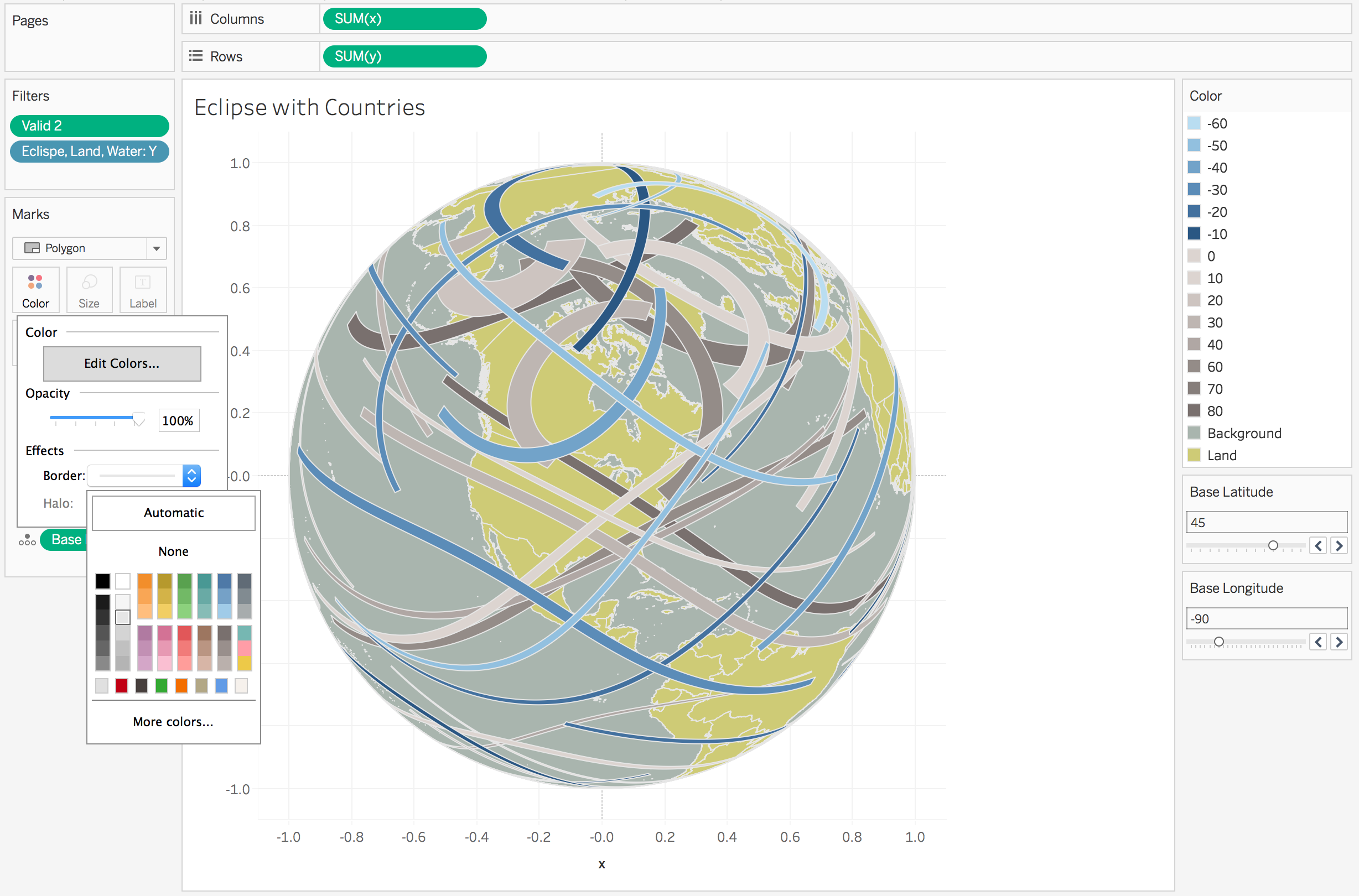 Creating orthographic maps globelike maps in Tableau is easier